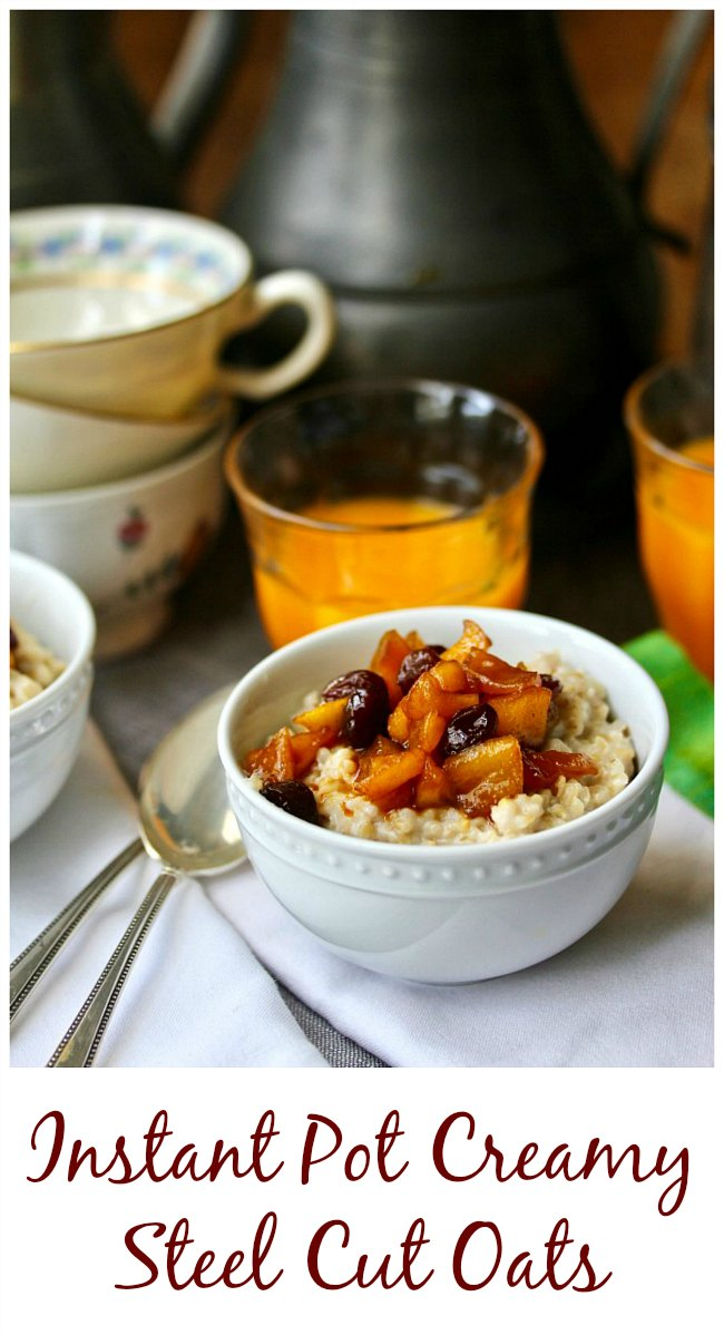 Instant Pot Creamy Steel Cut Oatmeal with Apple Raisin Compote #instantpot #oatmeal