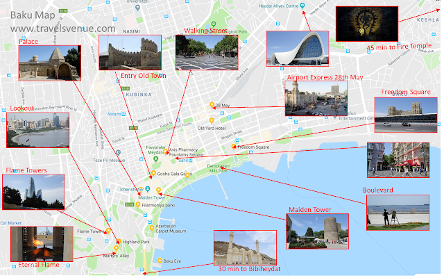 What to see in Baku on a tourist map