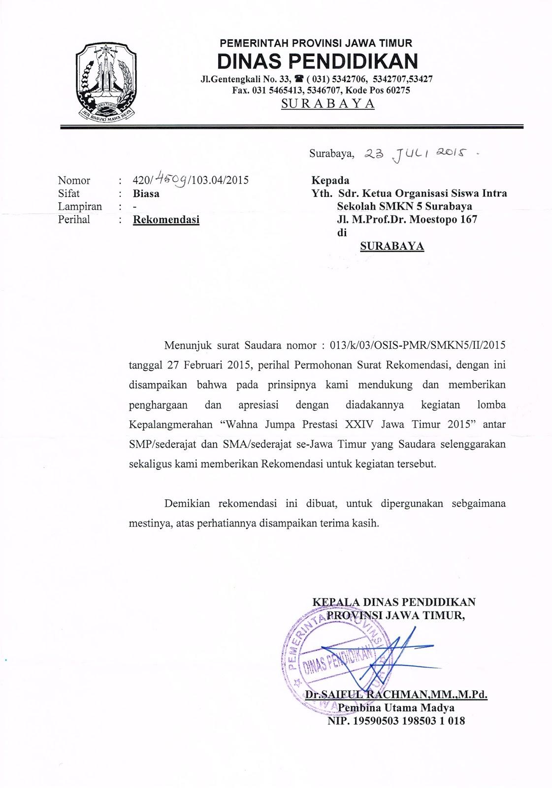 Rekomendasi Dinas Pendidikan Provinsi Jawa Timur Pmr Smk Negeri 5