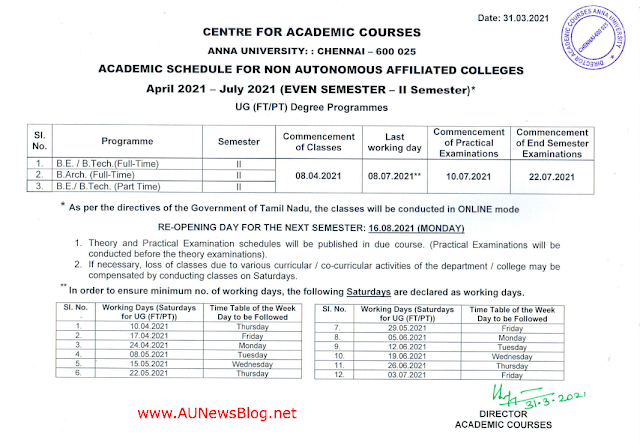Anna University Academic Schedule 2nd Semester April May 2021 exams