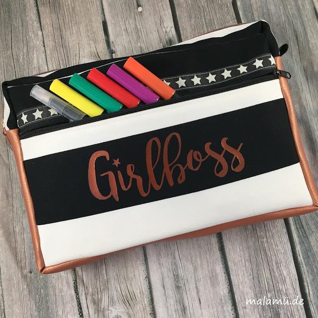 Letteringtasche Girlboss in Kupfer