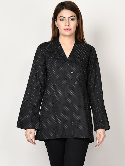 Limelight winter ready to wear black printed short kurti
