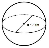 volume bola dengan diameter 7 dm adalah