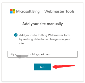 Add your website or blog to bing webmaster tools manually