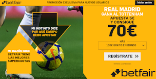 betfair supercuota Copa Audi Real Madrid vs Tottenham 30 julio 2019