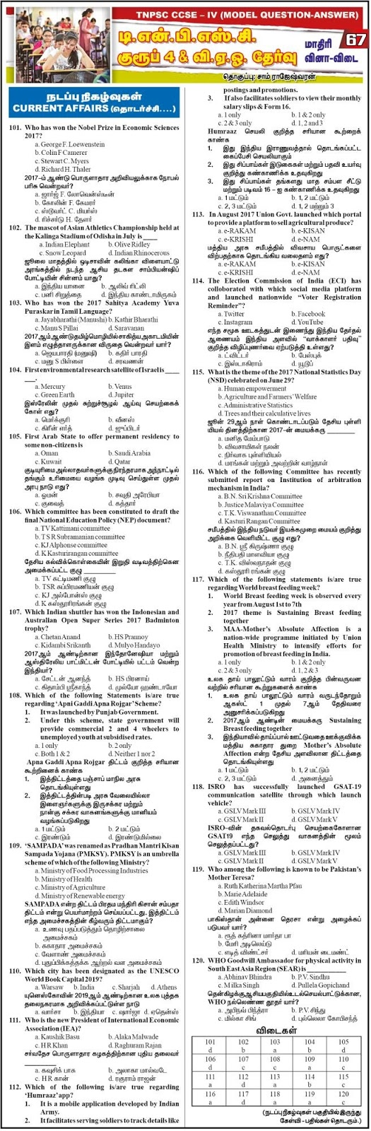 TNPSC Group 4 Current Affairs Model Papers - Dinathanthi Feb 3, 2018, Download as PDF