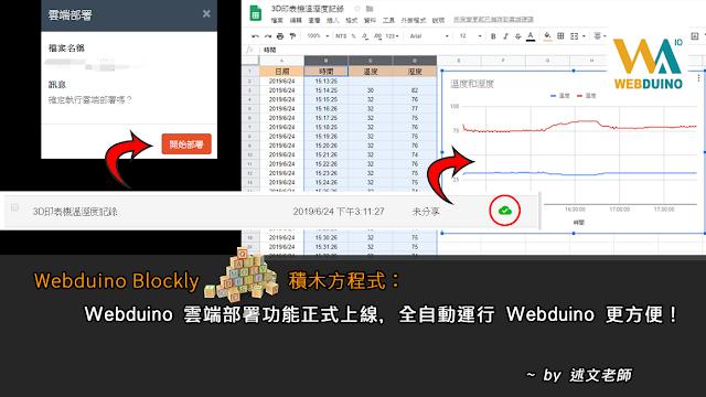 Webduino Blockly 「積木方城市」:雲端部署功能正式上線,全自動運行 Webduino 更方便!