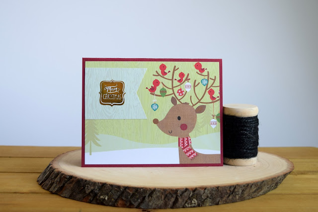 Woodland Animal Christmas Card by Jess Crafts using The Paper Studio 6x6 Paper Pad