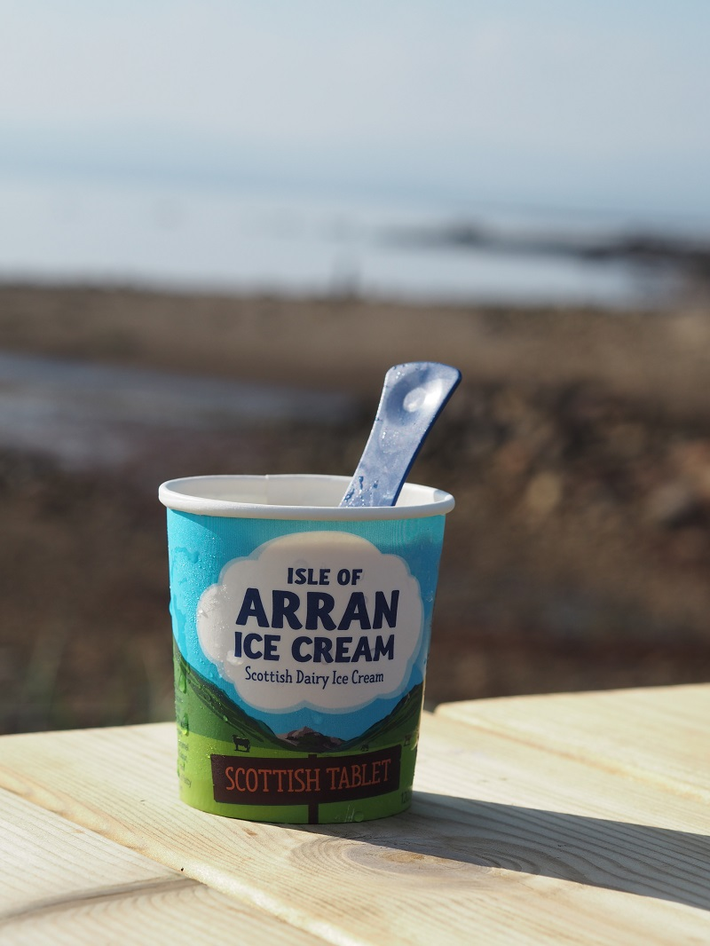 Scottish tablet flavour Isle of Arran ice cream by the sea