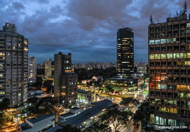 Vista da varanda do apartamento do hotel Radisson Blu São Paulo, na Faria Lima