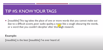 TranscribeMe Exam - Tip 5: Know Your Tags