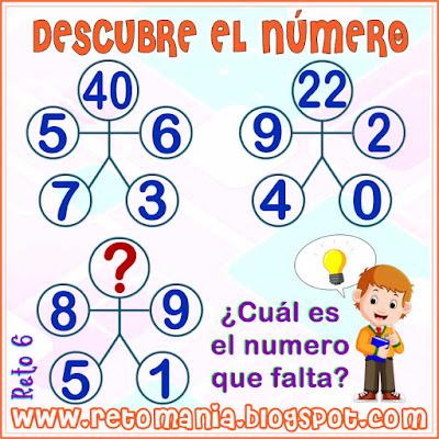 Cuadrado mágico, Desafíos matemáticos, Retos matemáticos, Problemas matemáticos, Retos mentales, Descubre el número, Busca el número, El número oculto