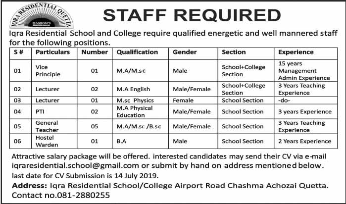 Iqra Residential School And College Jobs in Quetta July 2019