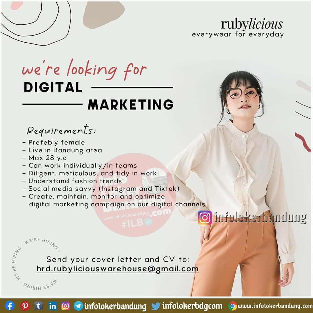 Lowongan Kerja Digital Marketing Rubylicious Bandung November 2020