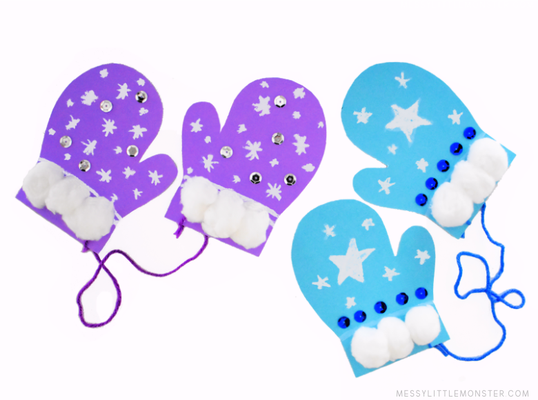 mitten template winter snow craft for kids