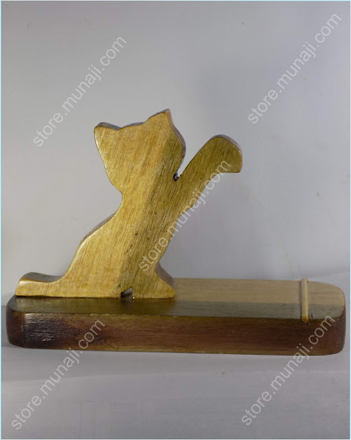 gambar produk 3Dudukan HP Dari Kayu - Bentuk Anak Kucing Lucu Imut (Wooden Phone Stands)