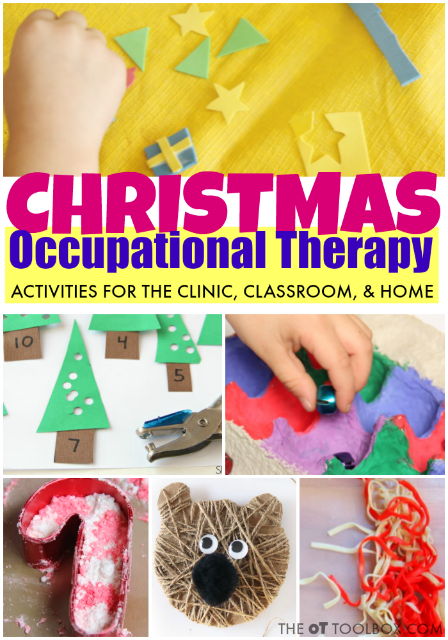 These Christmas activities for kids are perfect for using in occupational therapy activities, in home programs, in the OT clinic, or in the classroom. All of the occupational therapy Christmas activities are designed to promote motor development including fine motor, gross motor, visual motor, and sensory, all with a Christmas theme!