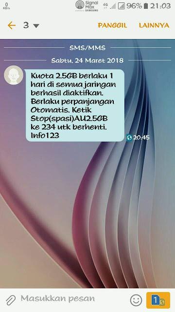Cara STOP Paket Internet Tri 2.5GB Rp2000 Terbaru