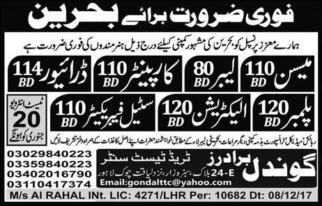 Latest Jobs in Bahrin for Mason, Carpenters, Drivers ,Plumbers & Others