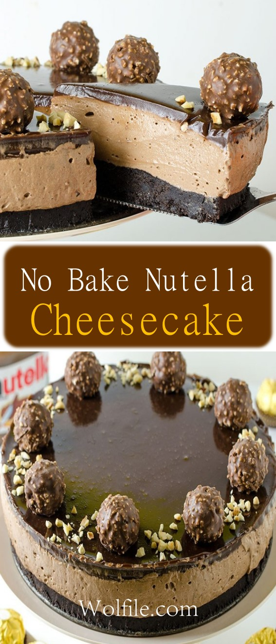 No Bake Nutella Cheesecake Recipe #Cake #Nutella