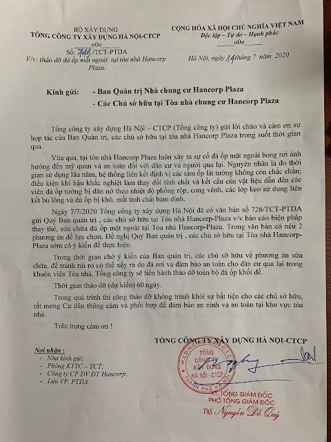 Công văn 749/TCT-PTDA của Tổng Cty Xây dựng Hà Nội