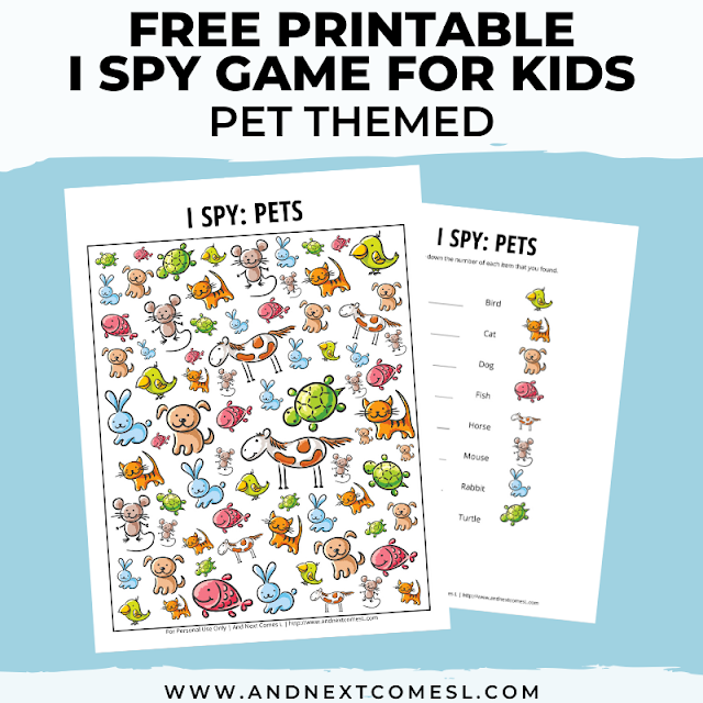 Free I spy game printable for kids: pets themed