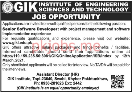 Latest GIK Institute of Engineering Science & Technology Posts 2021