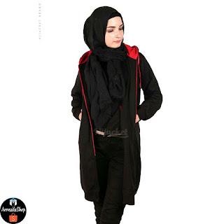HJ21 Hijacket BASIC Black x Red JAKET HIJAB JAKET MUSLIMAH ORIGINAL PREMIUM FLEECE