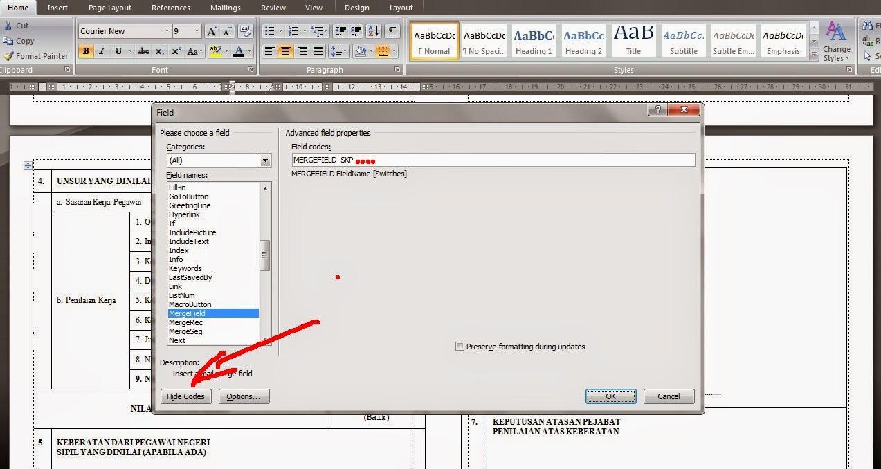 Edit field pada mail merge