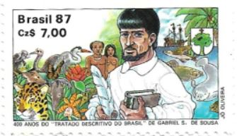Selo 400 anos do Tratado Descritivo do Brasil de Gabriel Soares de Souza