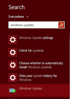 ketik windows update