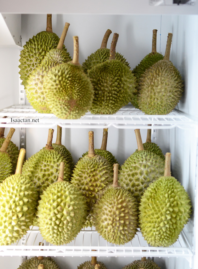 Chilled durian straight from the freezer for those who enjoy their durians chilled.