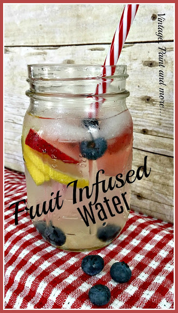 Vintage, Paint and more... water infused with strawberries, blueberries and lemons for a delicious, cool summer drink