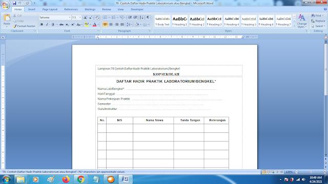 Contoh Format Daftar Hadir Praktik Laboratorium/Bengkel Terbaru