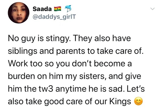 'No Guy Is Stingy. They Also Have A Siblings And Parents To Take Care Of' - Lady Advices