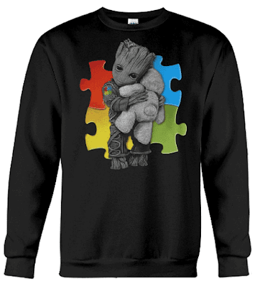 Autism Groot Hug Teddy Bear Hoodie