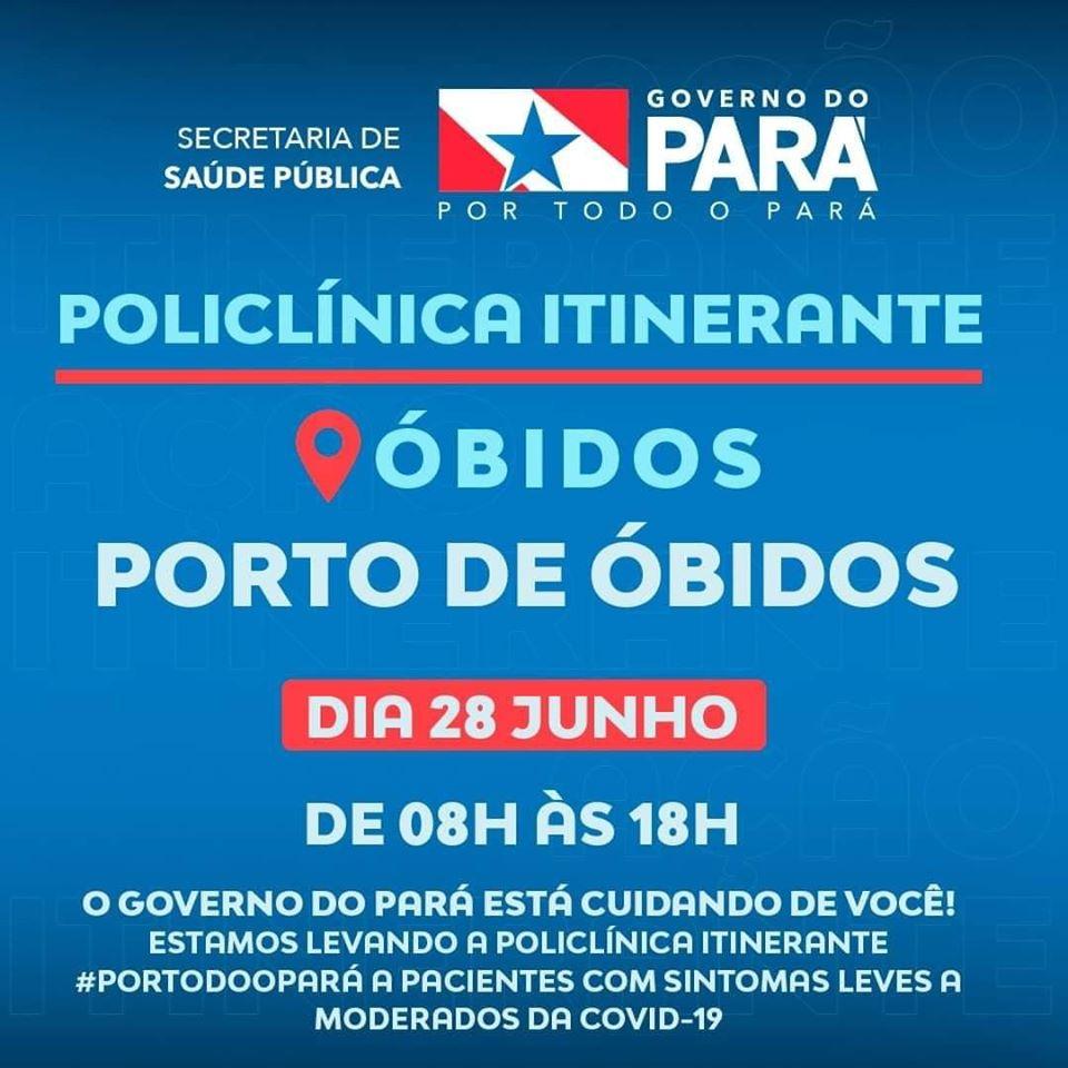 Neste domingo (28), estará em Óbidos a policlínica itinerante do governo do estado.