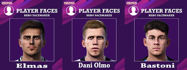 PES 2020 Bastoni, Elmas and Olmo Face by Bebo Facemaker