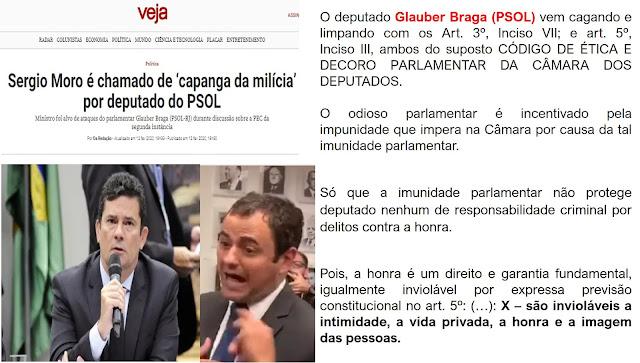 ATITUDE DE MARGINAL: Deputado do PSOL babando de ódio comete 2º crime contra Sergio Moro chamando-o de 'capanga da milícia'