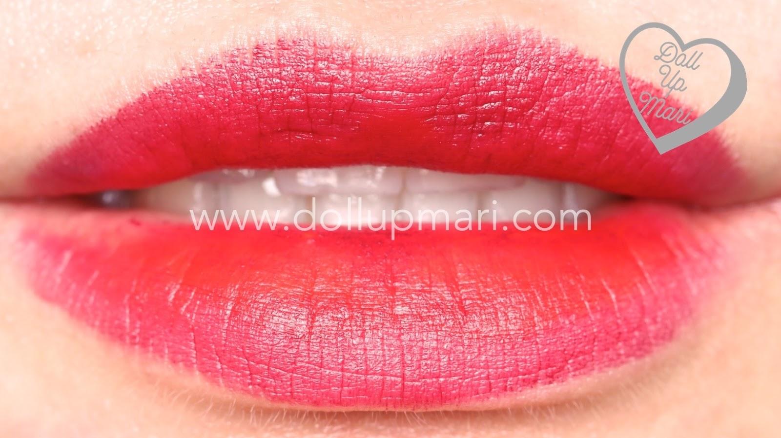 lip swatch of Wild Cherry shade of AVON Perfectly Matte Lipstick