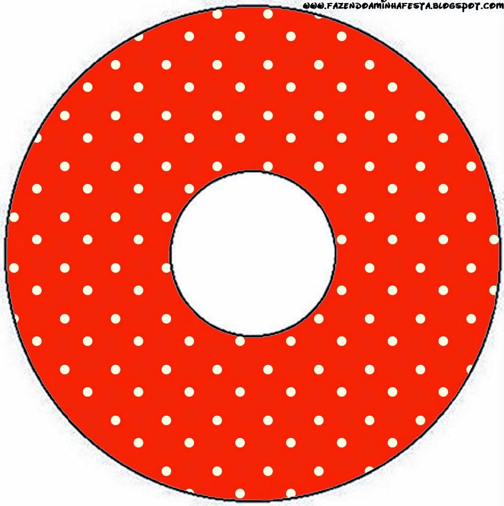 Etiqueta CD´s para Imprimir Gratis de Rojo, Amarillo y Lunares Blancos.