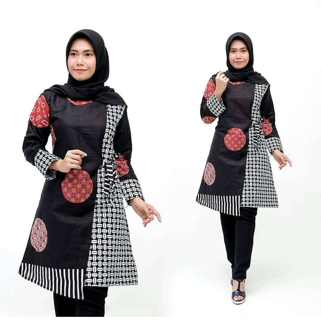 Model Tunik Batik Kombinasi Polos Terbaru 11 Desain Mewah Dan