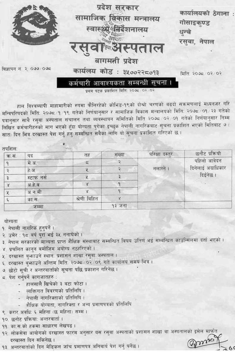 Rasuwa Hospital (Gandaki Province) Job Vacancy  for Medical Officer, Nurse, HA, AHW, ANM and Helper