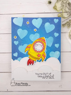 Out of This World a card by Diane Morales | Cosmic Newton Stamp Set by Newton's Nook Designs