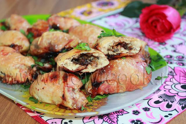 рецепт куриных рулетиков с грибами и черносливом