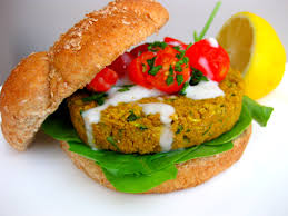 Seasonal Recipe ~ Falafel burger with hummus by Paul Rankin