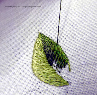 Blending the second colour into the first row of the needlepainted leaf