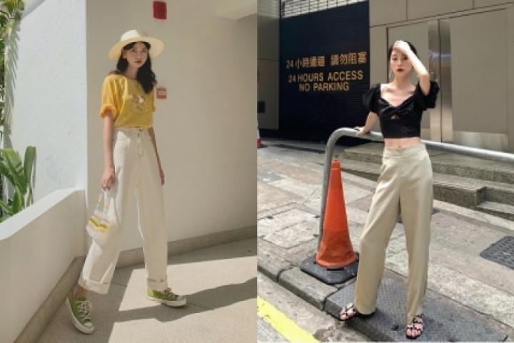 Cách ăn mặc sang trọng cho nữ phối đồ với quần ống rộng và chiếc quần màu be siêu hot