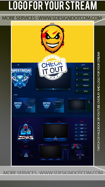 Twitch or facebook or youtube overlay and logo - Stream Starting Soon Overlay Maker with Chip Circuit Graphics