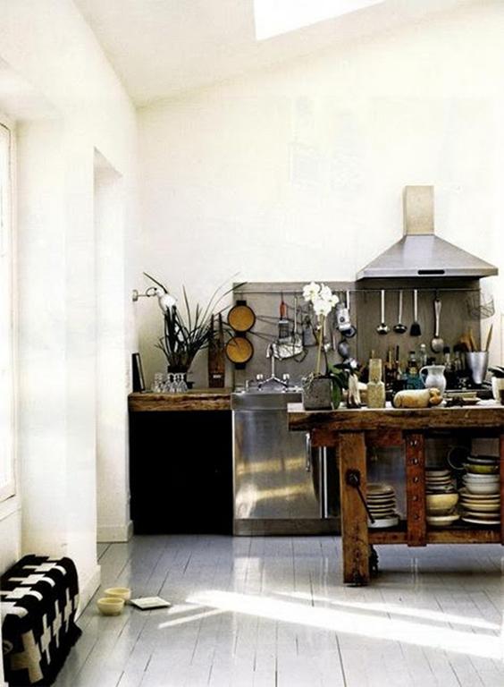 etabli bois ilot cuisine - blog déco